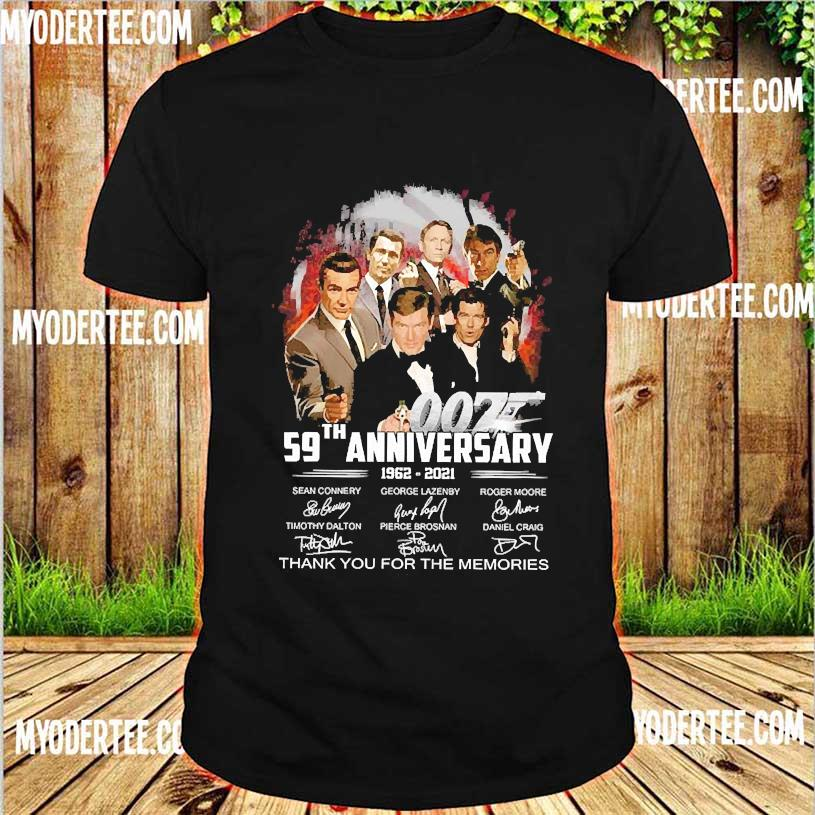 007 59th anniversary 1962 2021 thank You for the memories signatures shirt