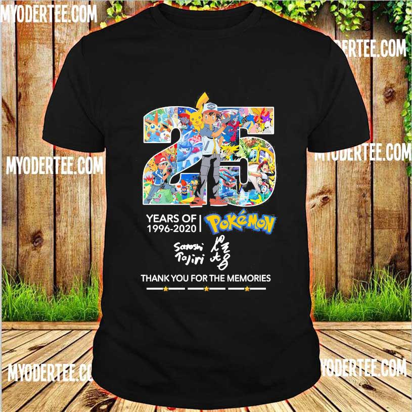 25 Years of 1996 2020 Pokemon thank You for the memories signature shirt