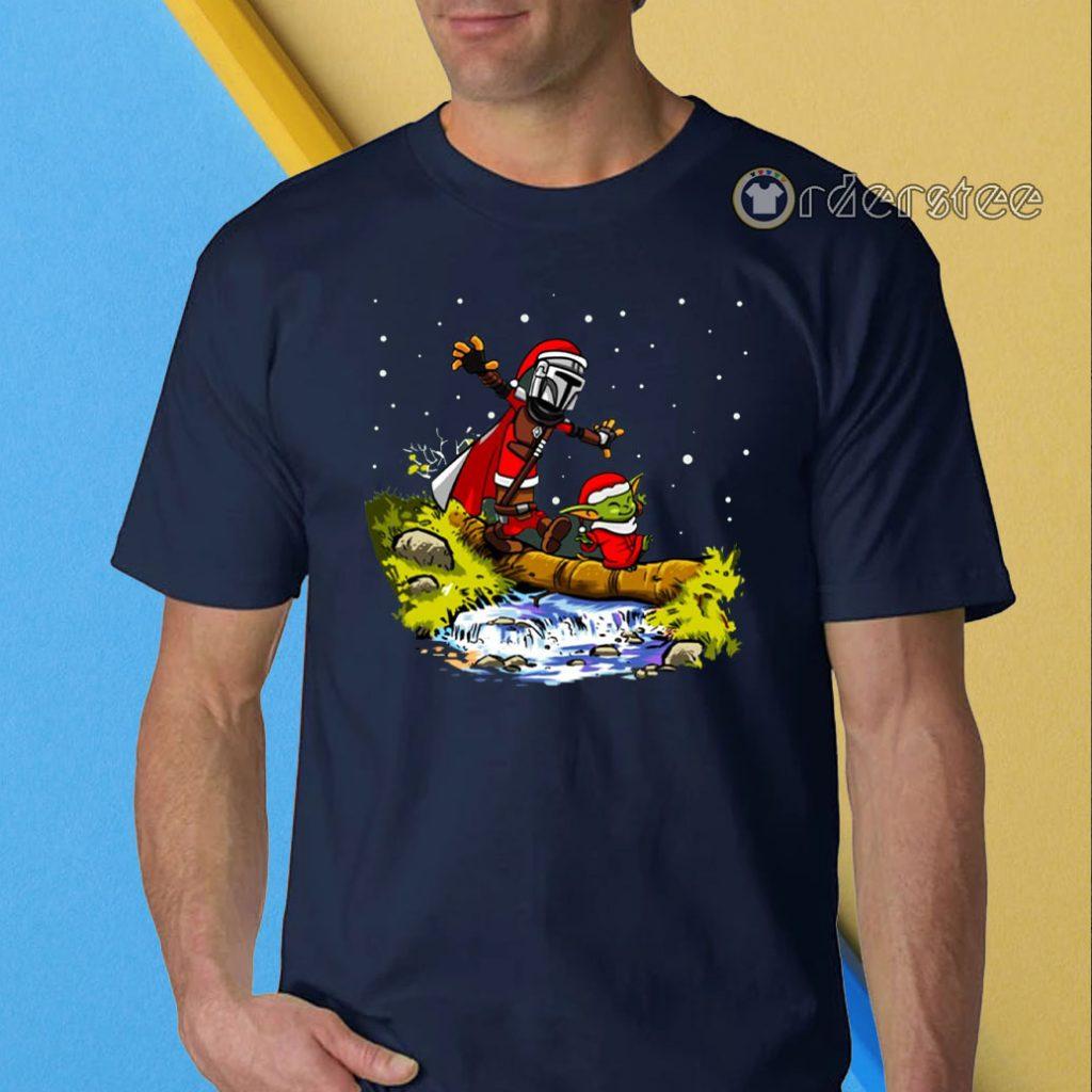 Baby Yoda Star Wars Walking Under The Snow Christmas T-Shirt