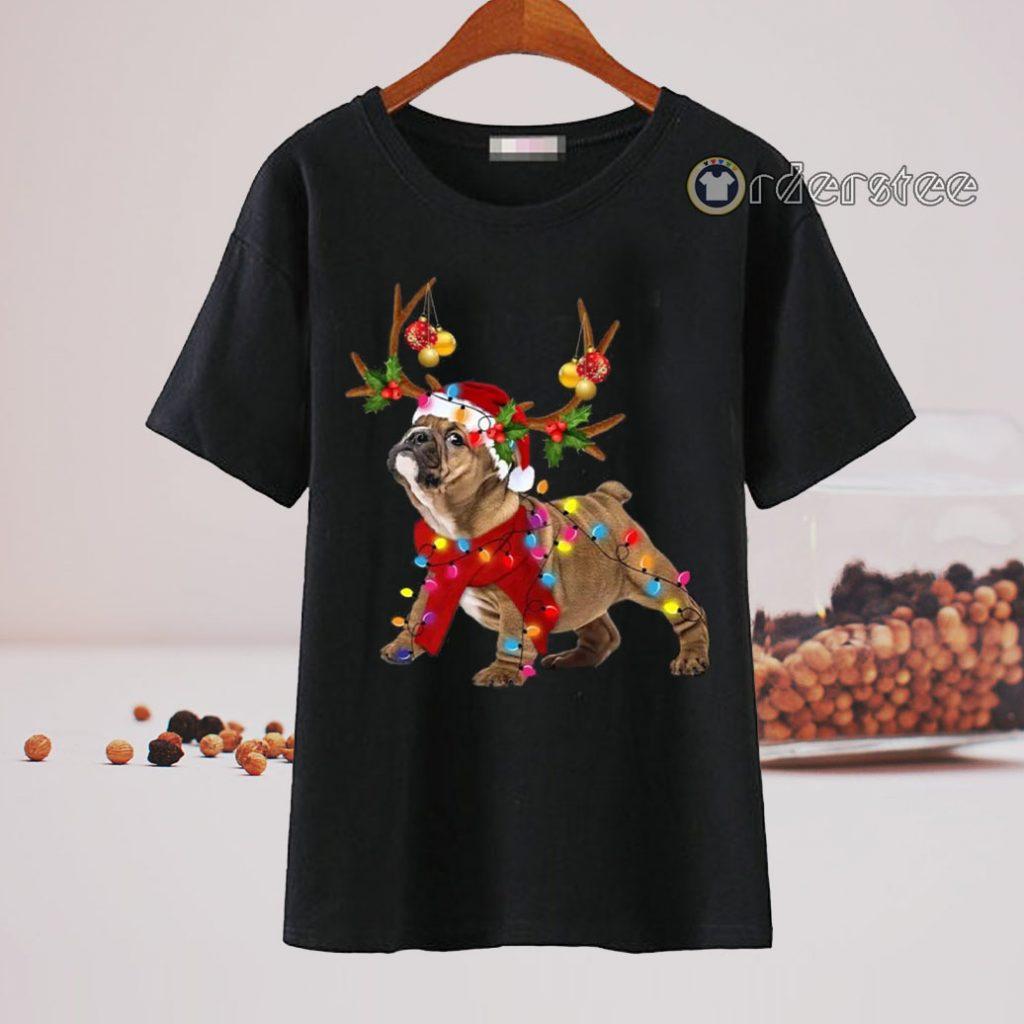 Bulldog Reindeer Christmas Light shirt