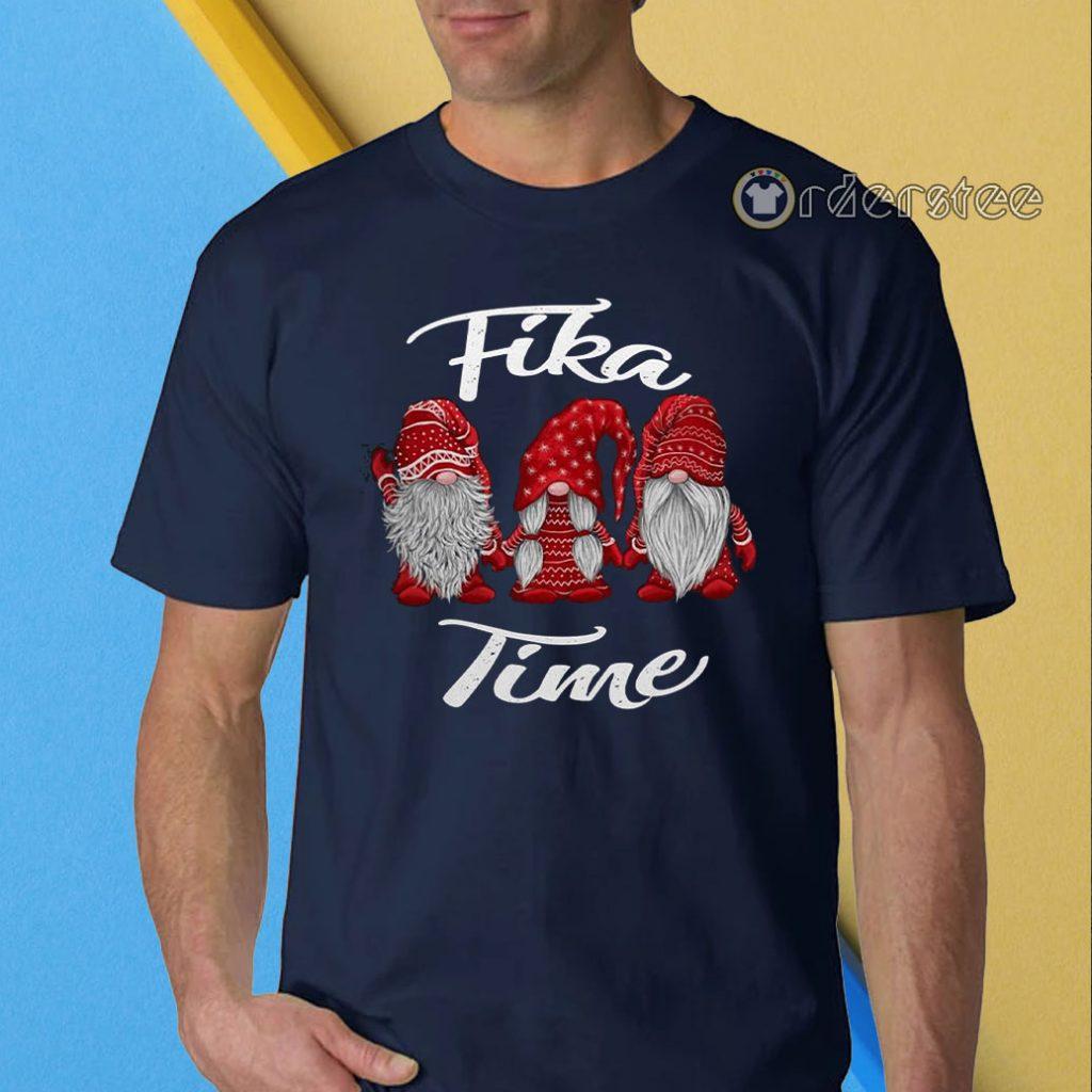 Gnomies Santa fika time Christmas t-shirt