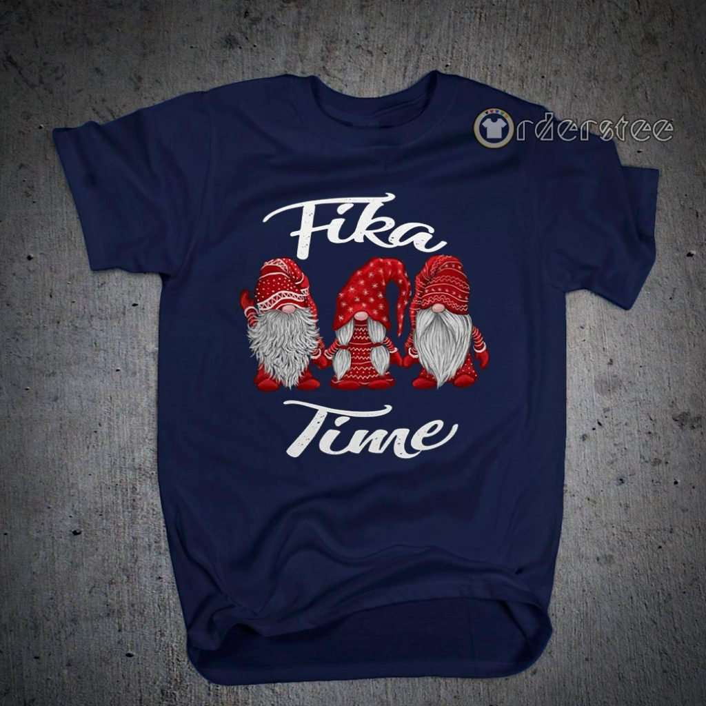 Gnomies Santa fika time Christmas t-shirts