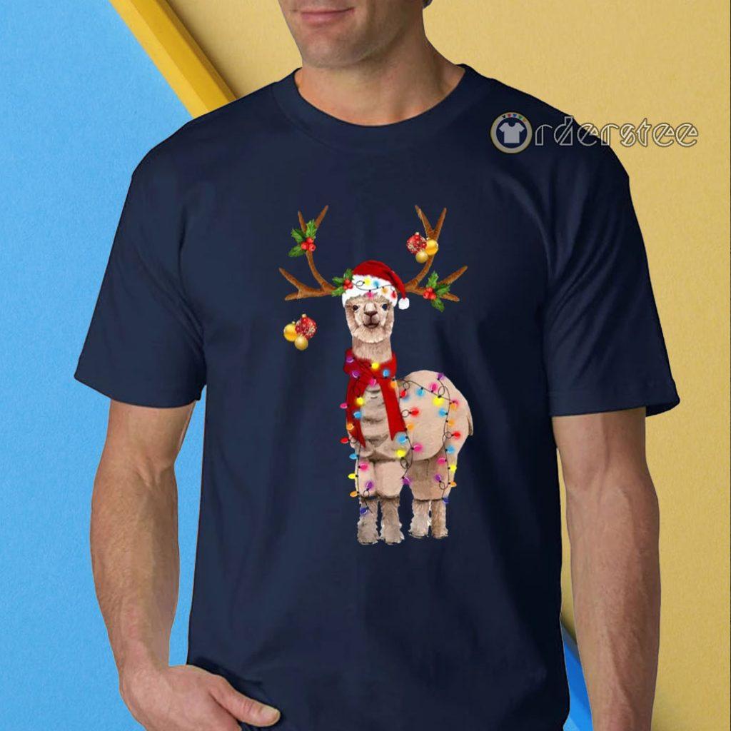 Llama Reindeer Christmas Light shirt