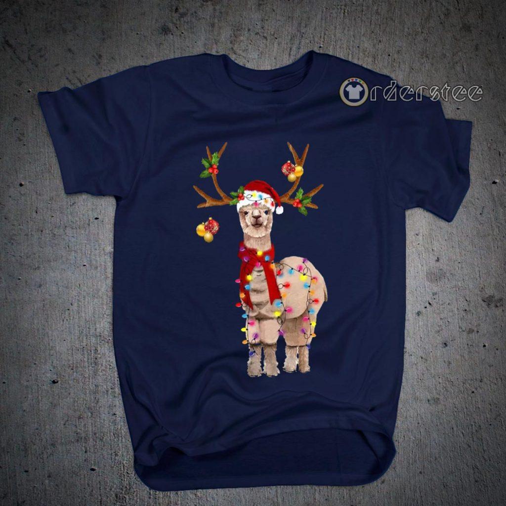 Llama Reindeer Christmas Light shirts