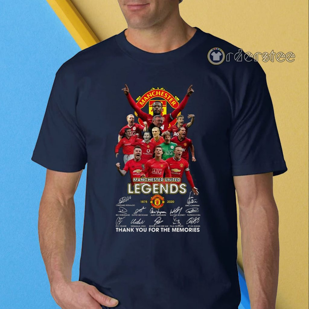 Manchester united legends signatures thank you for the memories t-shirt
