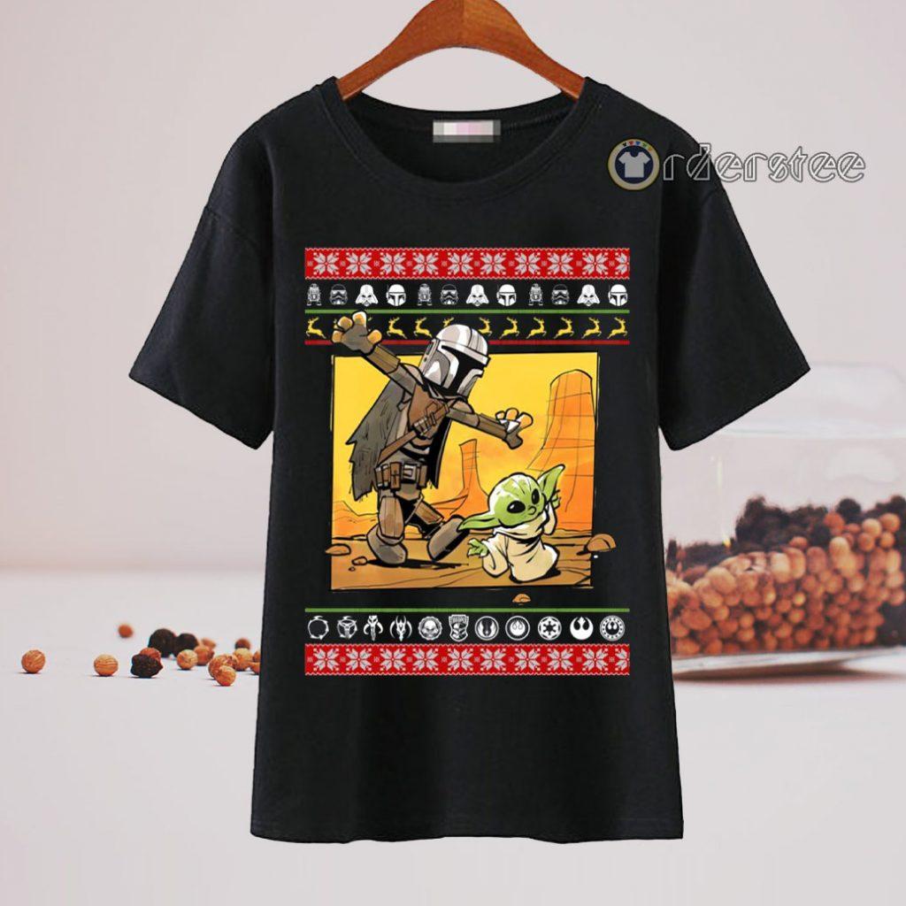 Star Wars Stormtrooper And Baby Yoda Christmas T-Shirt