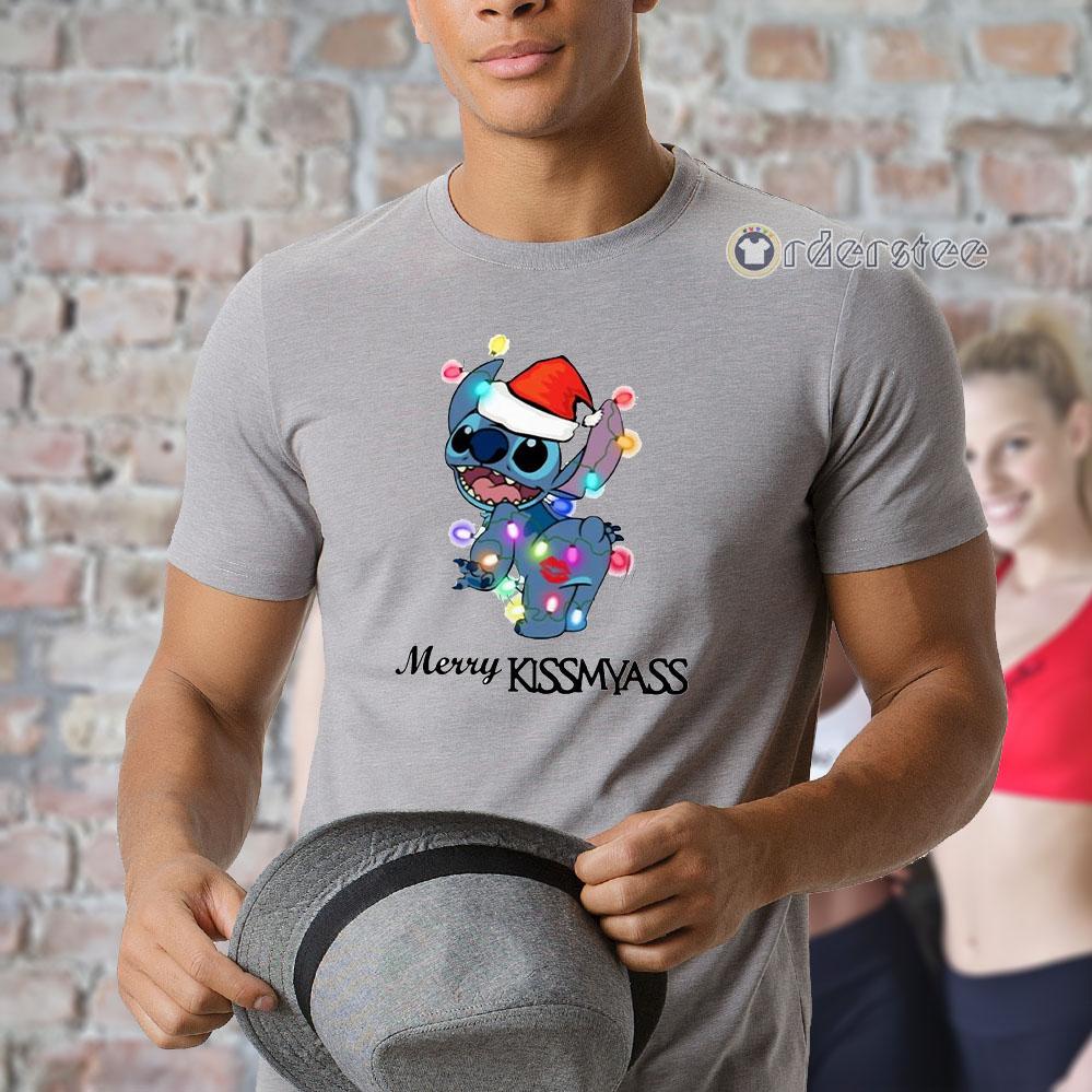 Stitch merry Kissmyass light Christmas shirt