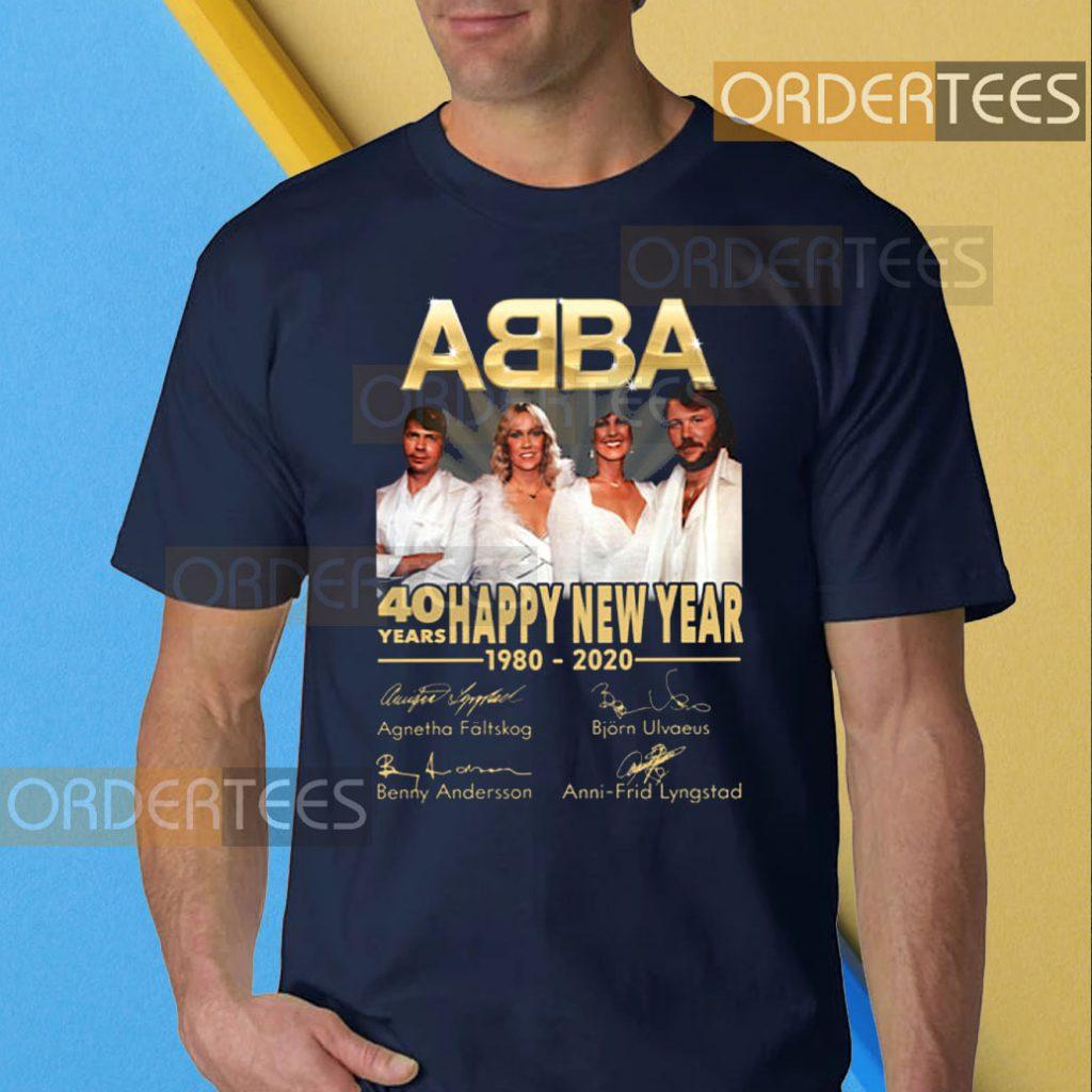ABBA 40 Years Happy New Year 1980-2020 Signature T-Shirt
