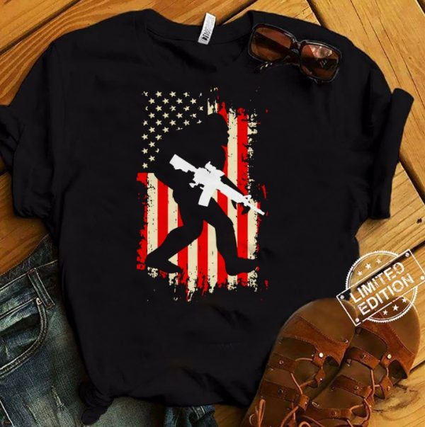Bigfoot Hold Gun Veteran America Flag Shirt