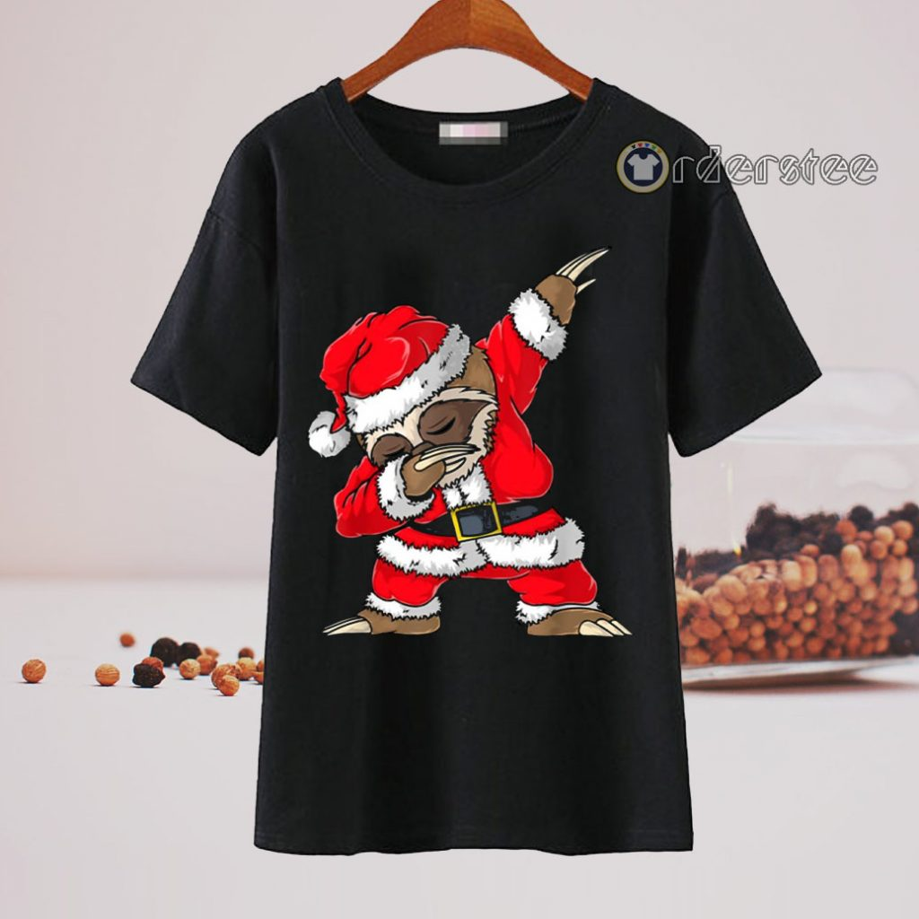 Dabbing Santa Sloth Christmas t-shirt