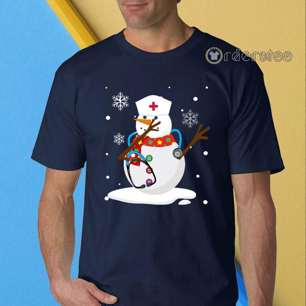 Snowman nurse christmas t-shirt