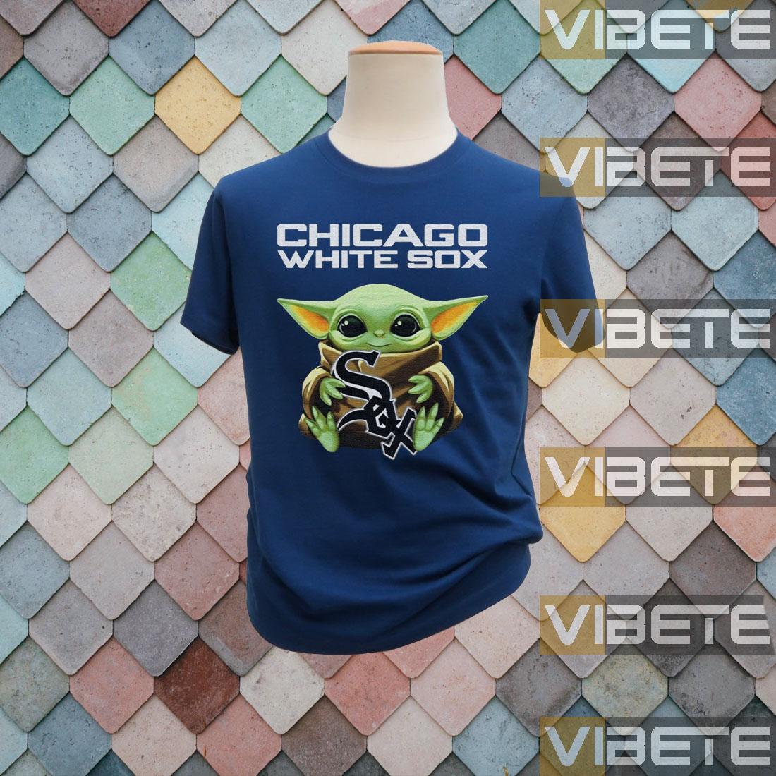 Baby Yoda Hug Chicago White Sox Logo TShirts