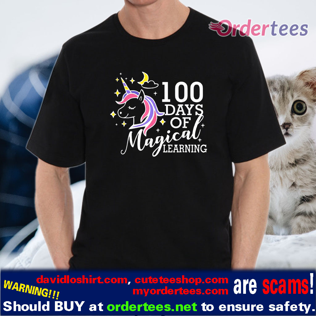 100 Days Of Magical Learning Elementary Teacher shirt