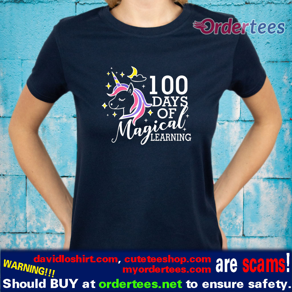 100 Days Of Magical Learning Elementary Teacher shirts