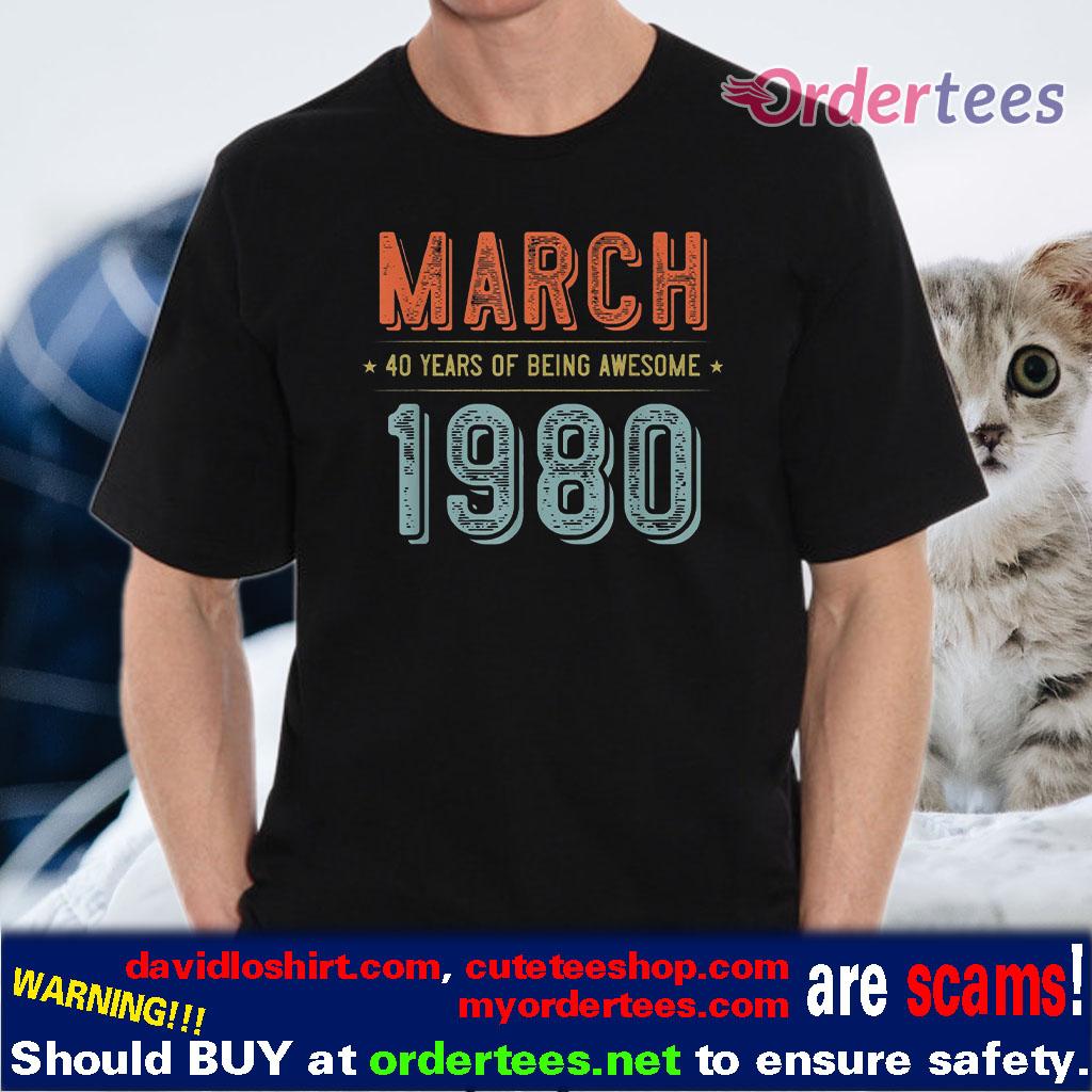 40th Birthday Shirt Born in 1980 Birthday Shirt Vintage 40th Birthday Gift