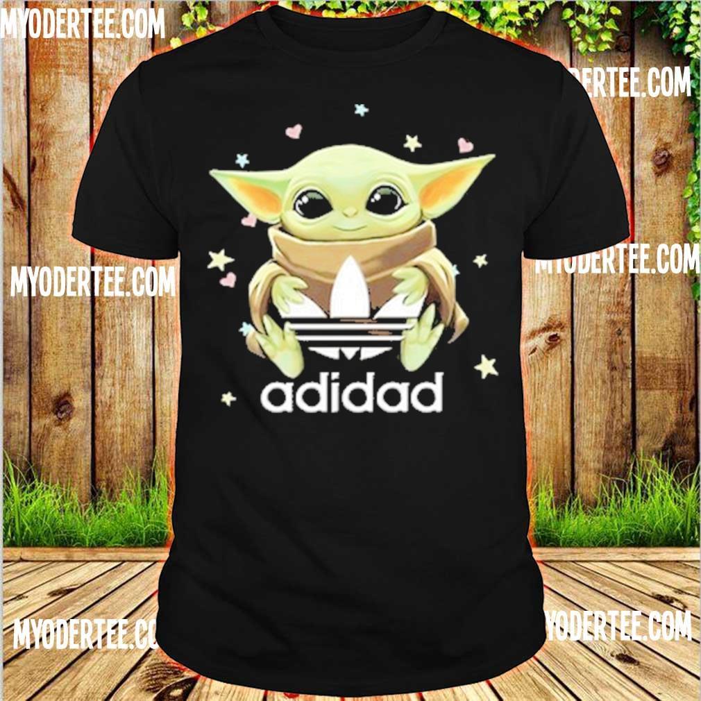 Baby yoda hug Adidad heart shirt