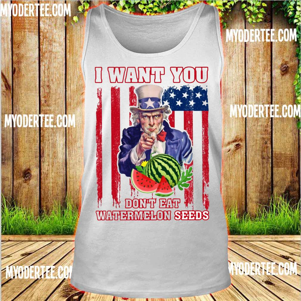 Tio Sam I want you don_t eat watermelon seeds america flag s tank top