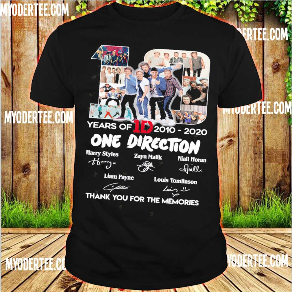 10 Years Of 1d 2010 2020 One Direction Thank You For The Memories Signatures Shirt