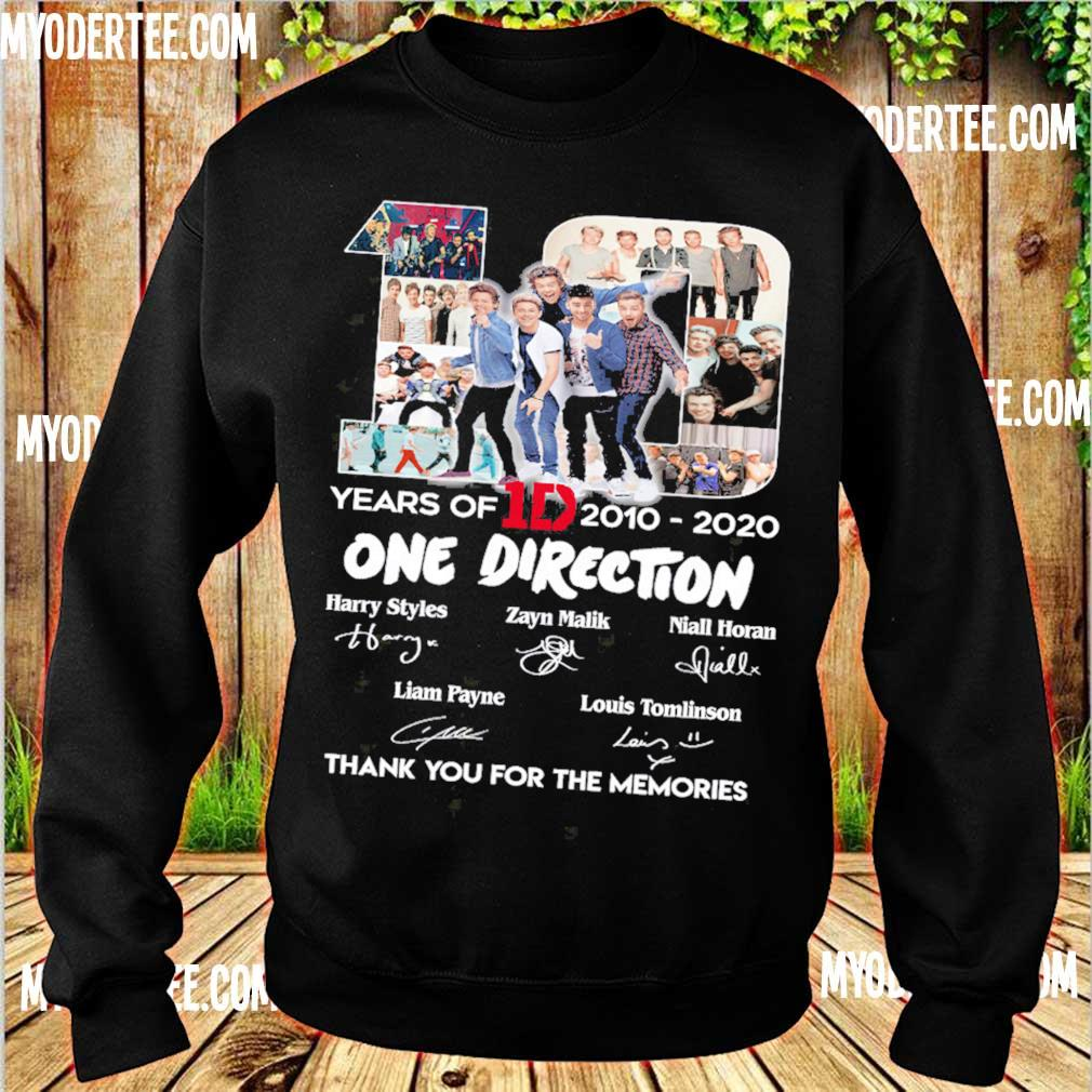 10 Years Of 1d 2010 2020 One Direction Thank You For The Memories Signatures Shirt sweater