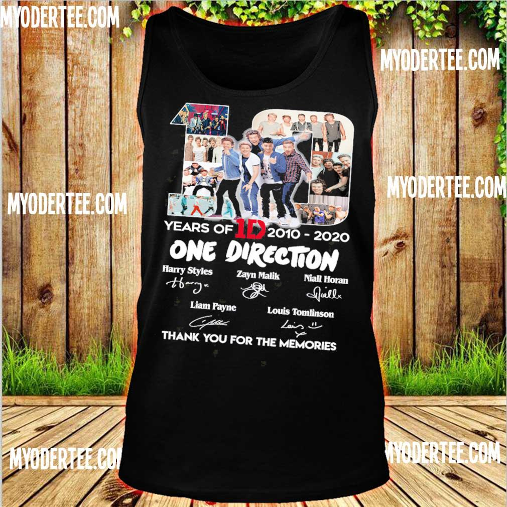 10 Years Of 1d 2010 2020 One Direction Thank You For The Memories Signatures Shirt tank top