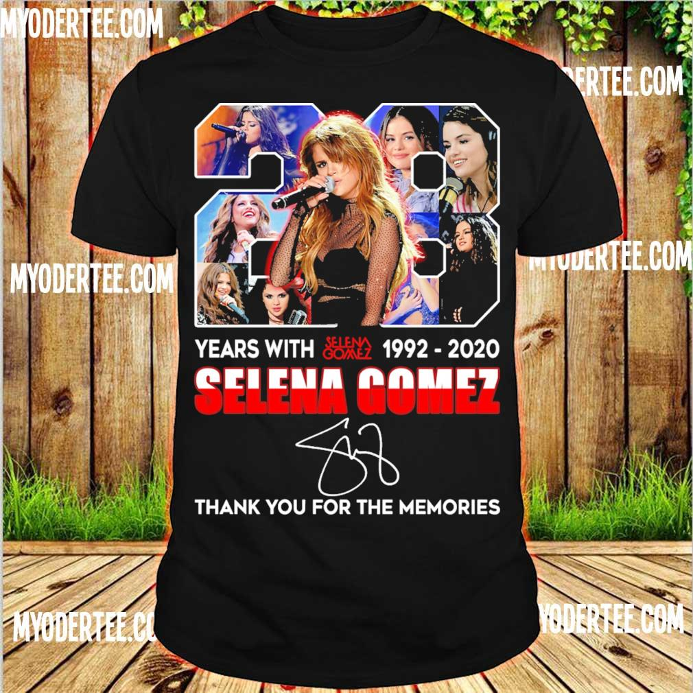 28 years with 1992 2020 Selena gomez thank you for the memories signature shirt