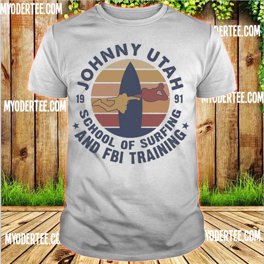Johnny utah 1991 school of surfing and FBI training vintage shirt