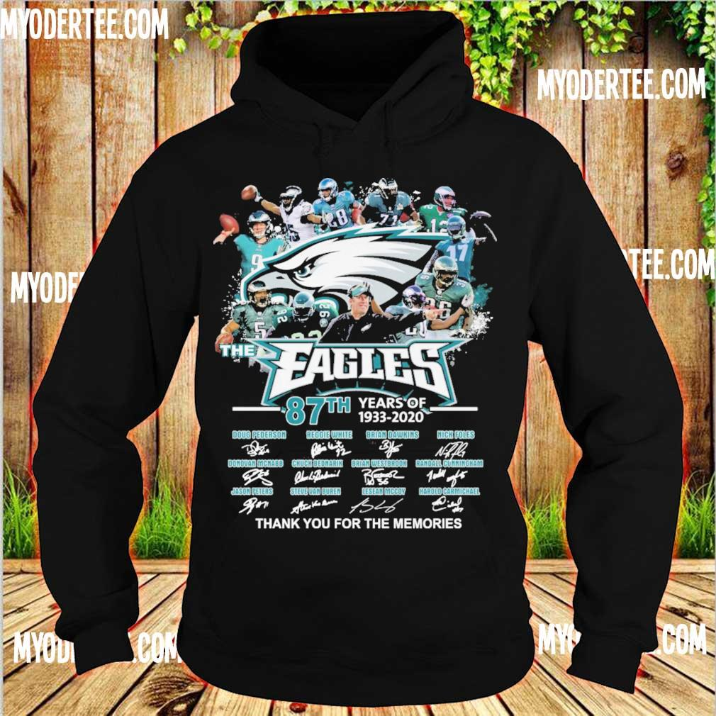 The Eagles 87th years of 1933-2020 thank you for the memories signatures s hoodie