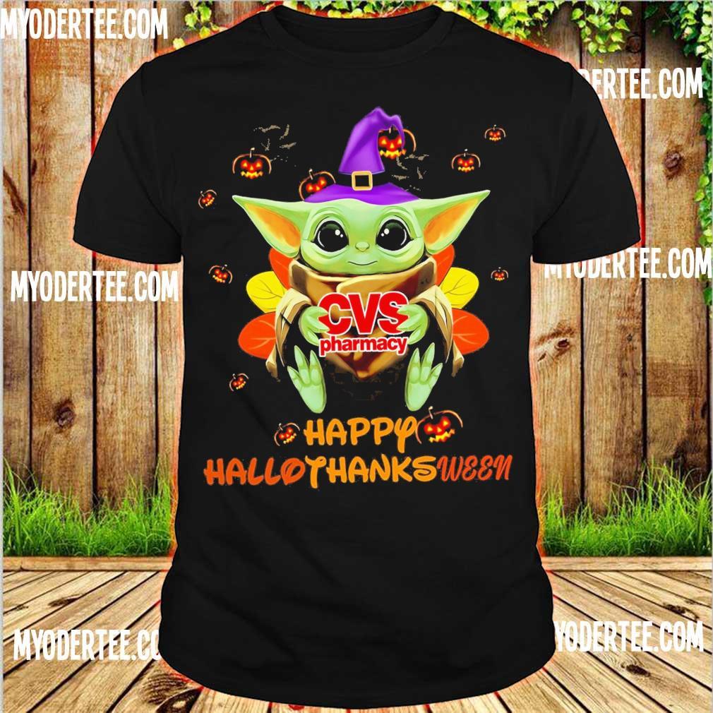 Baby Yoda Witch hug CVS Pharmacy Happy Hallothanksween shirt