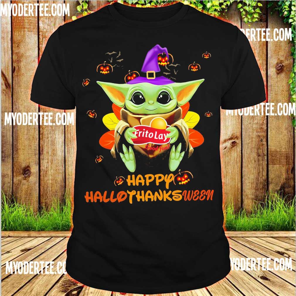 Baby Yoda Witch hug Frito Lay good fun Happy Hallothanksween shirt