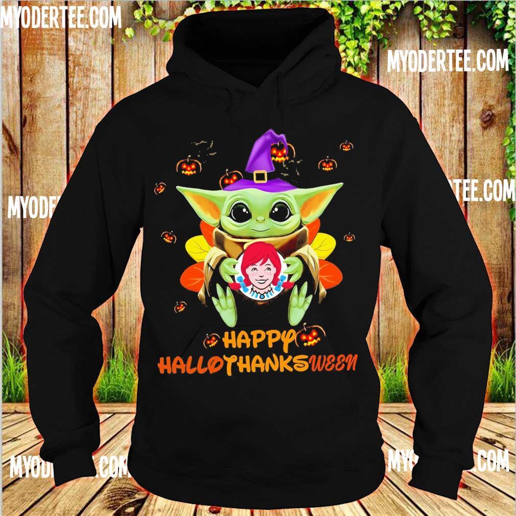 Baby Yoda Witch hug Wendy's Happy Hallothanksween s hoodie