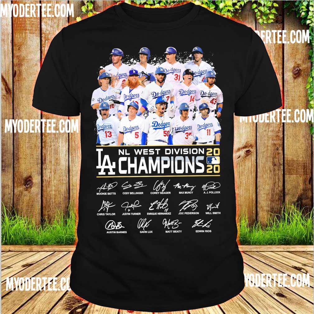 Dodgers Nl west division 2020 Losangeles Champions signatures shirt