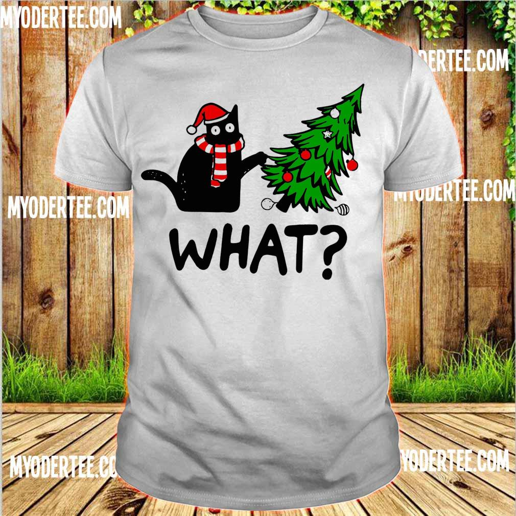 Santa Black Cat what Christmas shirt