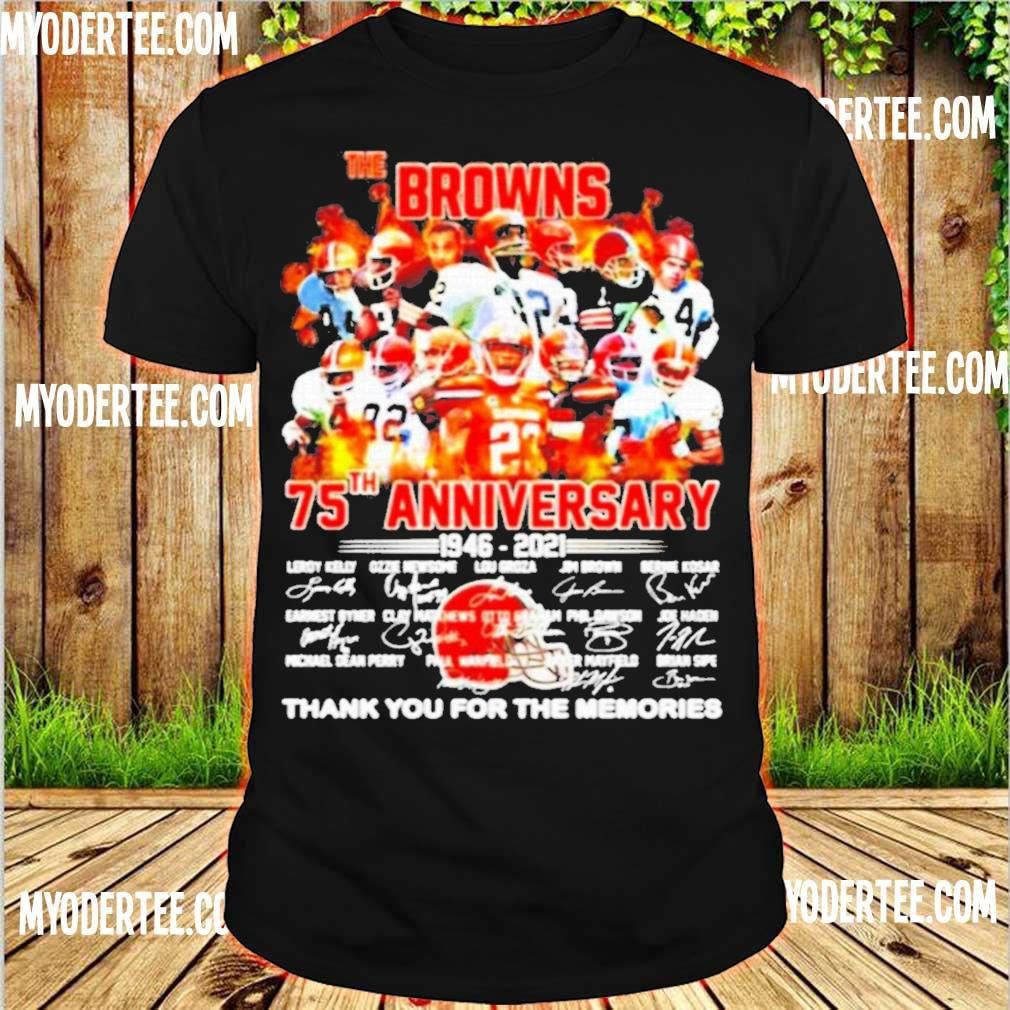 Official The Cleveland Browns 75th Anniversary 1946 2021 Thank You For The Memories Shirt